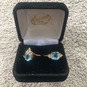 Jewelry - 2 Blue Topaz Gold Rings size 7
